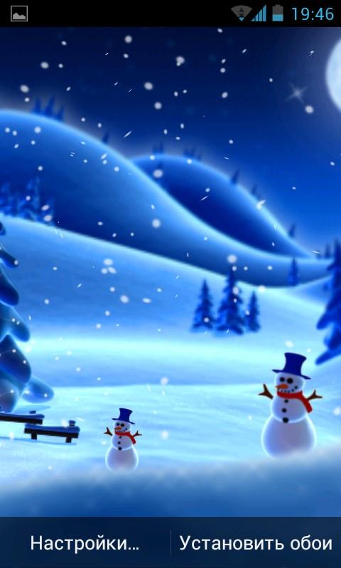 Winter Snow Cartoon LWP - интерактивные обои для Android