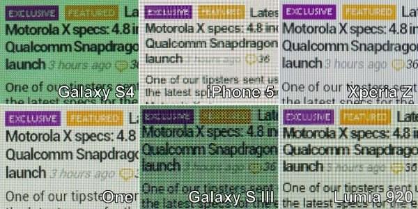 Сравнение дисплея Galaxy S4