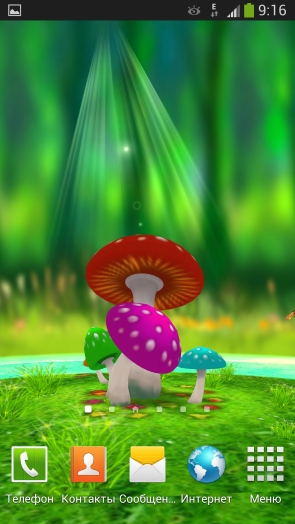 3D обои живые с грибами на Galaxy S4