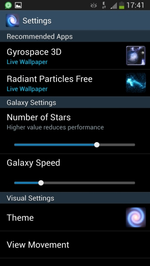 Живые обои Cosmic Glow для Samsung Galaxy S4 - настройки обоев