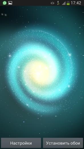 Анимированные обои Cosmic Glow для Samsung Galaxy S4 - аква галактика