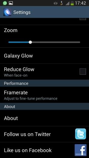 Анимированные обои Cosmic Glow для Samsung Galaxy S4 - настройки