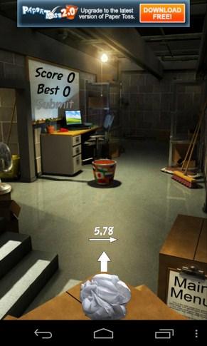 Paper Toss - казуальная игра на смартфон Galaxy S4