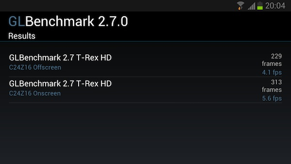 Samsung Galaxy S3 в бенчмарке GLBenchmark 2.7