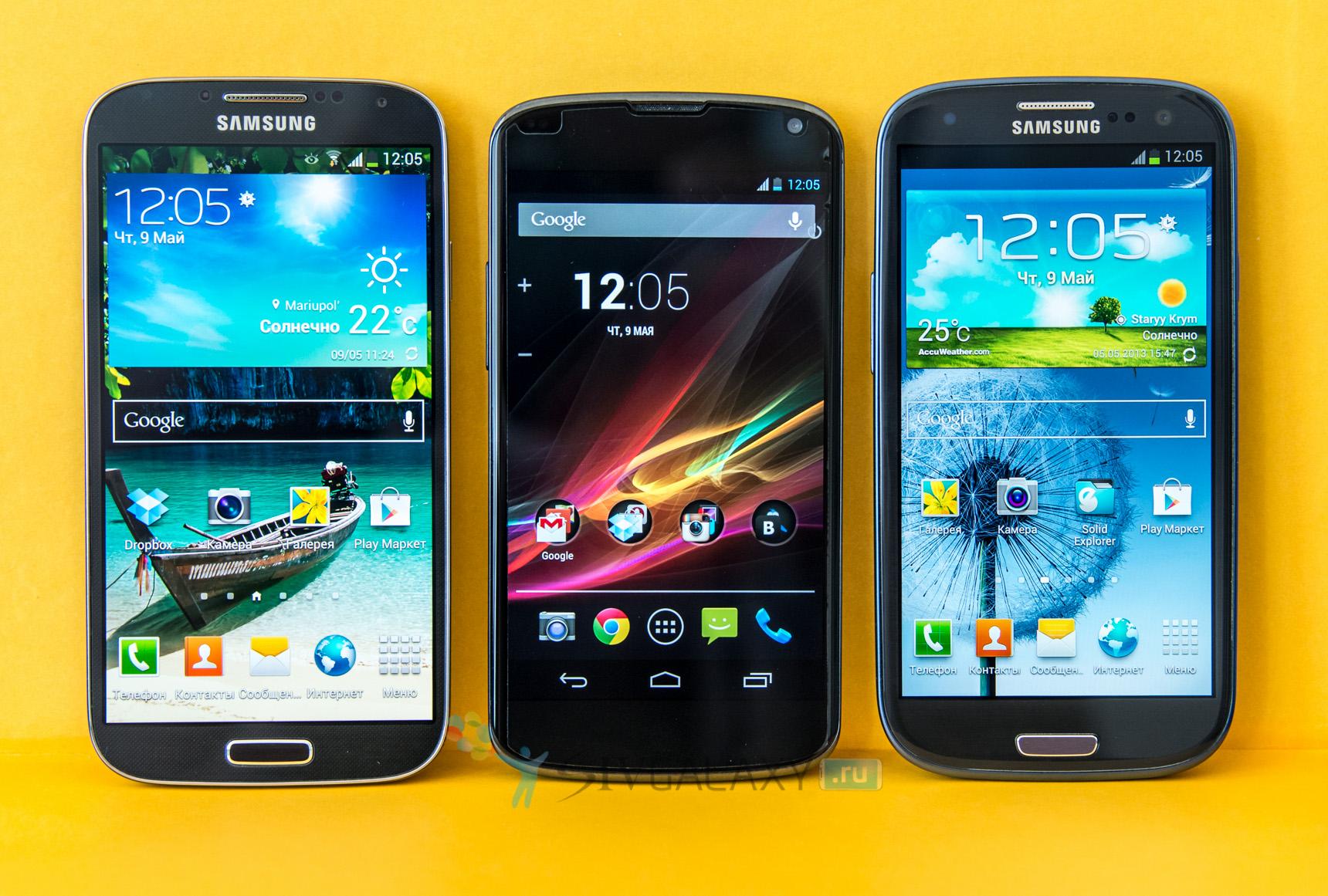 Сравнение Galaxy S3, S4 и Nexus 4