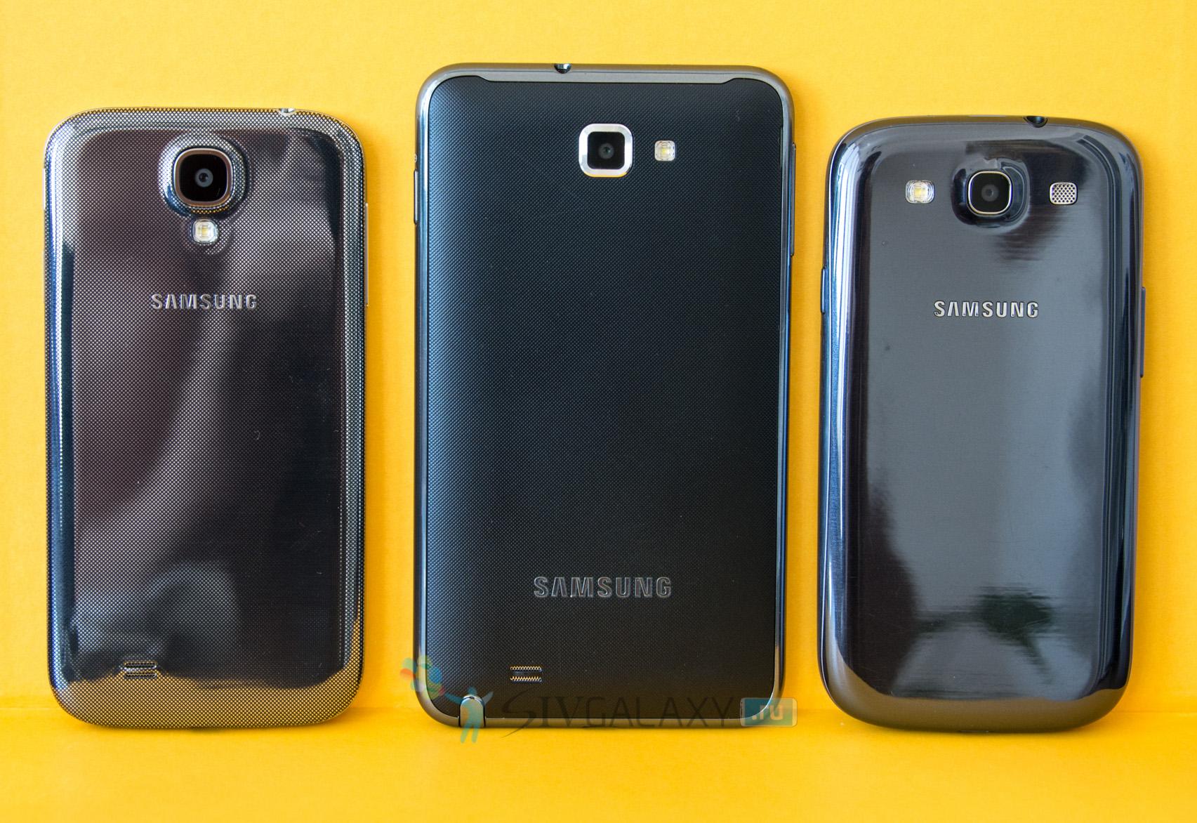 Сравнение Galaxy Note с Galaxy S4 и S3