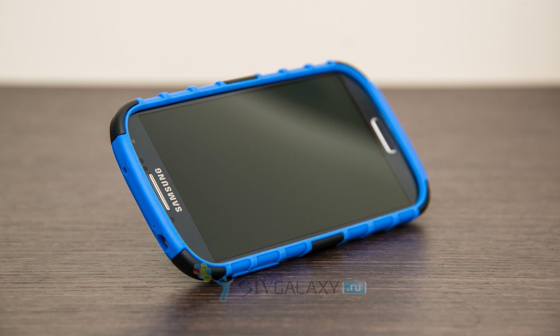 Чехол из резины для Galaxy S4 i9500 с подставкой