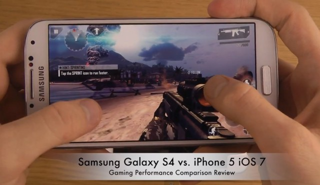 Сравнение iPhone 5 на iOS 7 и Galaxy S4 в играх