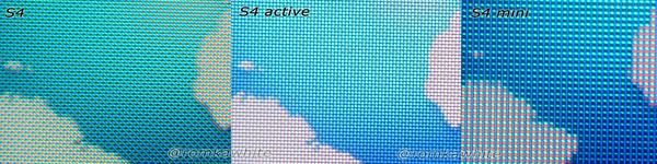 Экран Samsung Galaxy S4 Mini, S4 и S4 Active под микроскопом