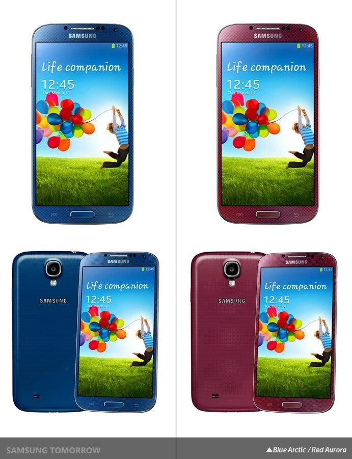 Samsung Galaxy S4 в цвете Red Aurora и Blue Arctic
