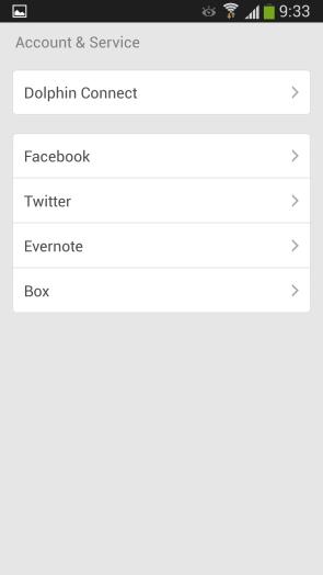 Dolphin Browser для Samsung Galaxy S4 - социальные профили