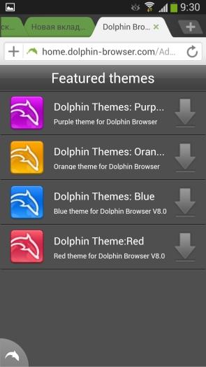Dolphin Browser для Samsung Galaxy S4 - настройки тем