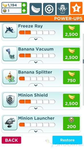 Раннер Minion Rush - покупка и апгрейд предметов
