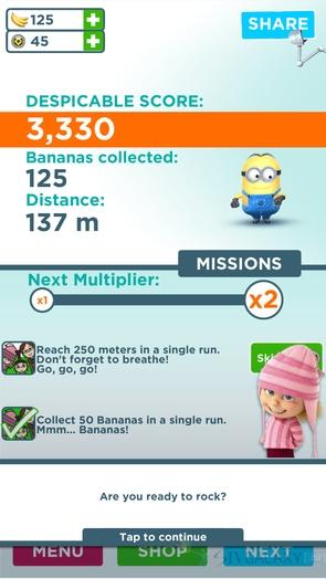 Раннер Minion Rush - миссии