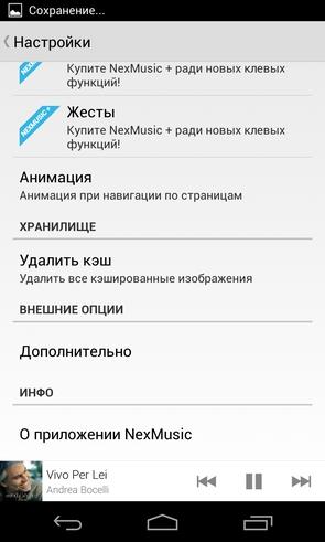 Nexmusic - опции