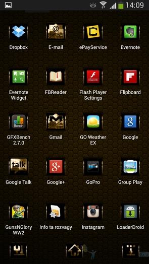 """Тема """"золотой хром"""" для Galaxy S4"""