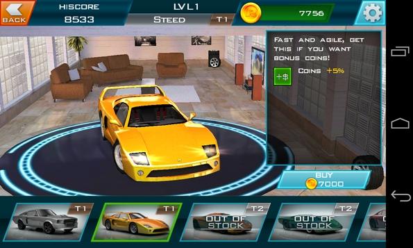Redline Rush 3D - выбор авто