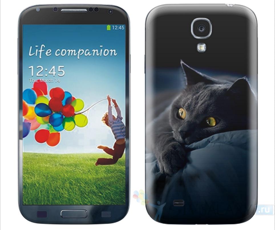 Виниловые наклейки для Samsung Galaxy S4 - с кошкой
