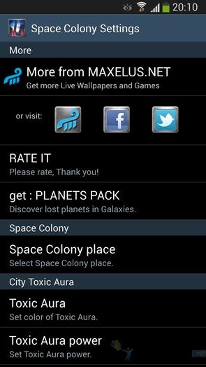 Space Colony - настройки обоев