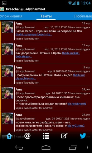 tweecha - твиттер приложение на смартфон Samsung Galaxy S4