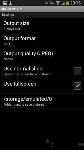 XnExpress Camera Pro - настройки приложения