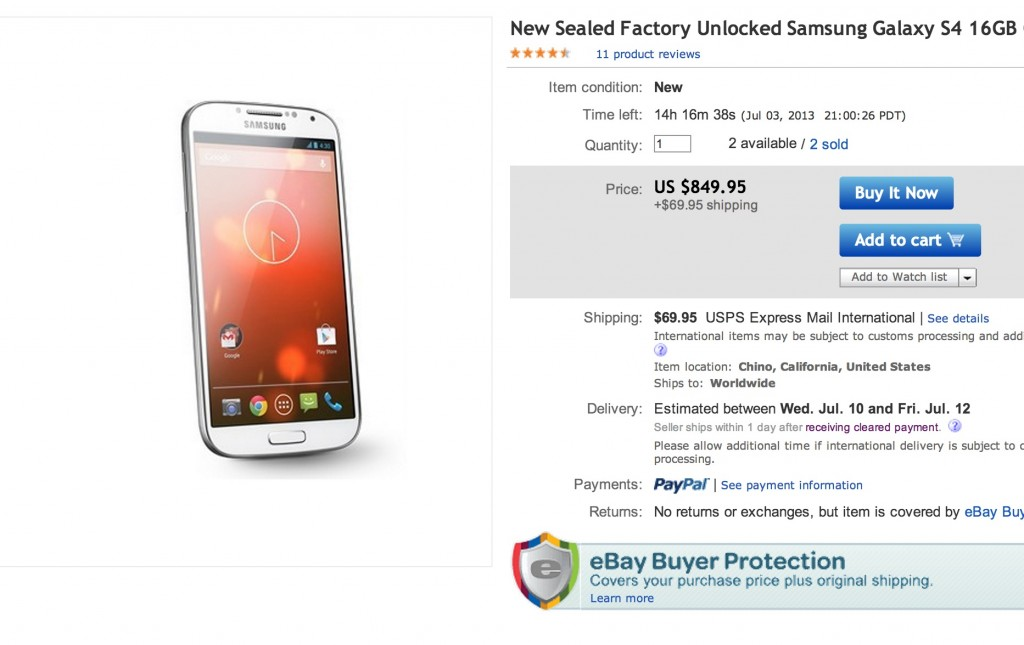 Цена на Galaxy S4 Google Edition