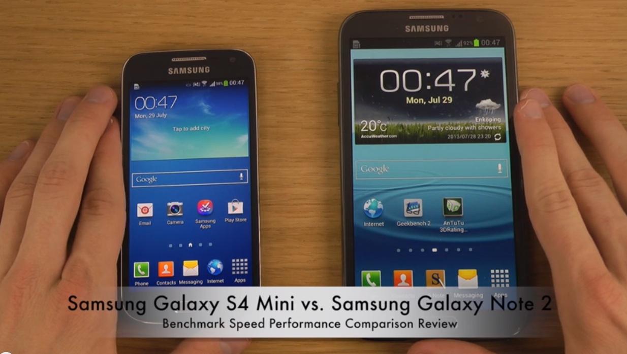 Сравнение Samsung Galaxy S4 Mini и Samsung Galaxy Note 2