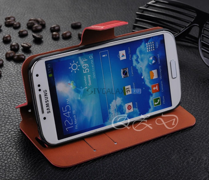 Credit Card Holder Navy Leather Wallet Case для Galaxy S4
