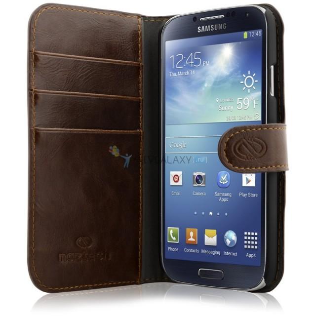 Премиум кожанный чехол для Samsung Galaxy S4 I9500 и I9505