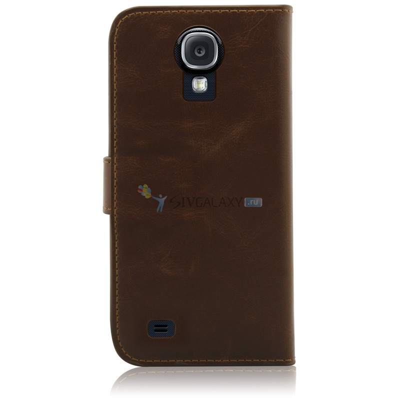 чехол из кожи для Galaxy S4 коричневого цвета