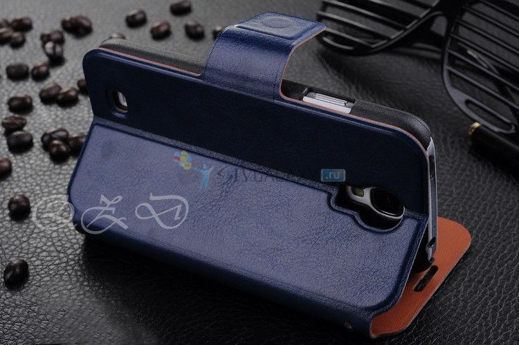 Темно-синий чехол из кожи для Galaxy S4