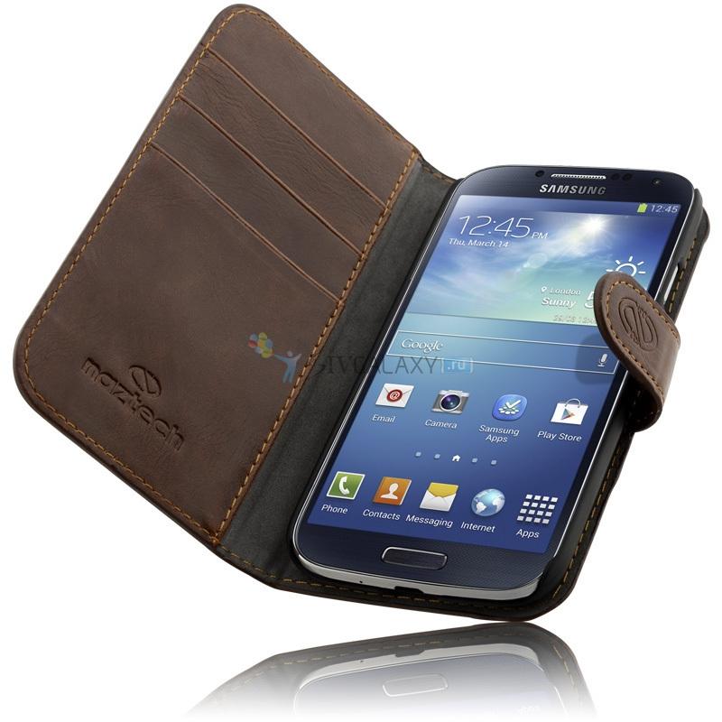 Коричневые чехлы из кожи для Samsung Galaxy S4