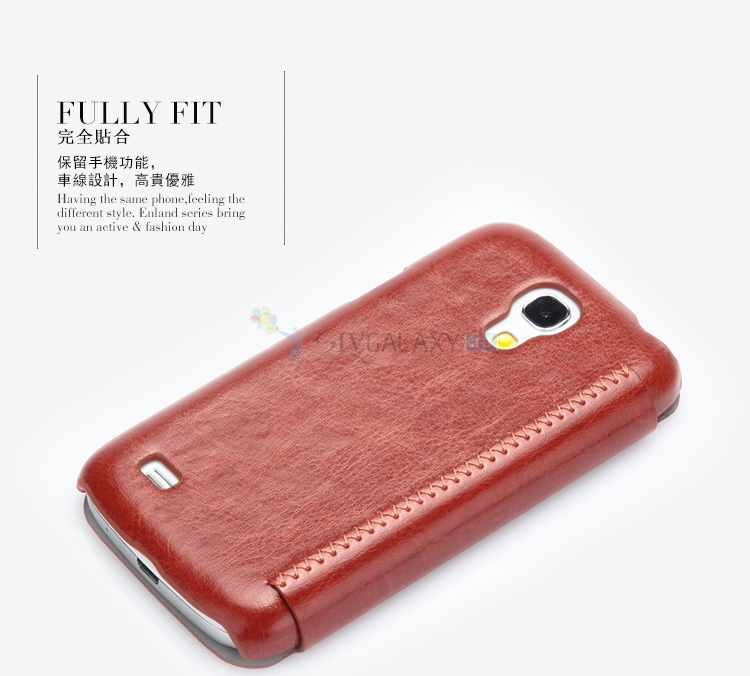 Коричневый чехол из кожи для Galaxy S4 Mini I9190 и I9192