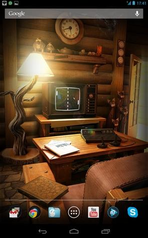 Живые обои My Log Home - ретро игра на тв