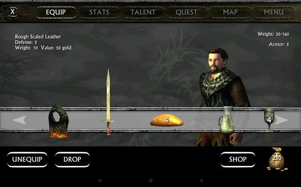 Ravensword: Shadowlands - инвентарь персонажа