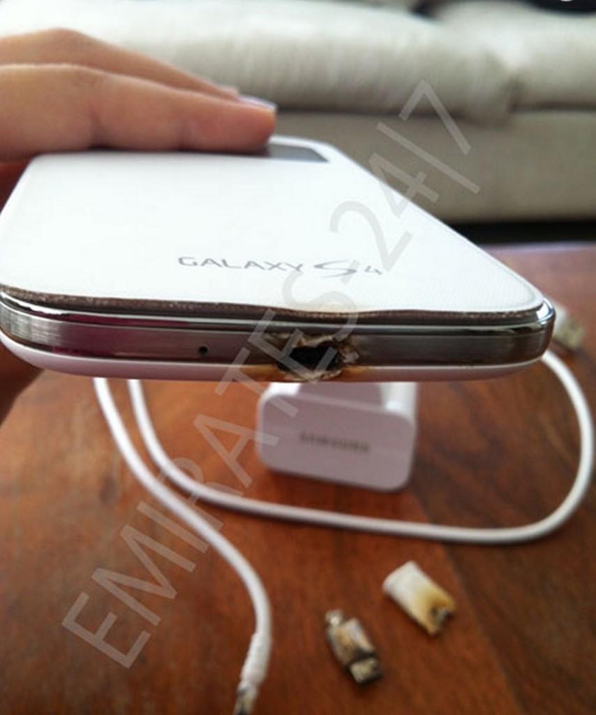Galaxy S4 сгорел во время зарядки (фото)