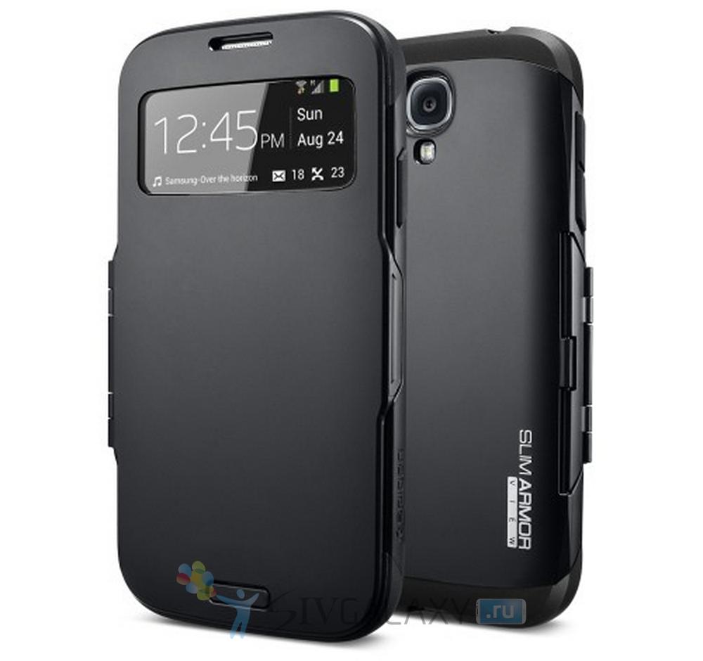 Spigen Slim Armor View Case - черный для Galaxy S4