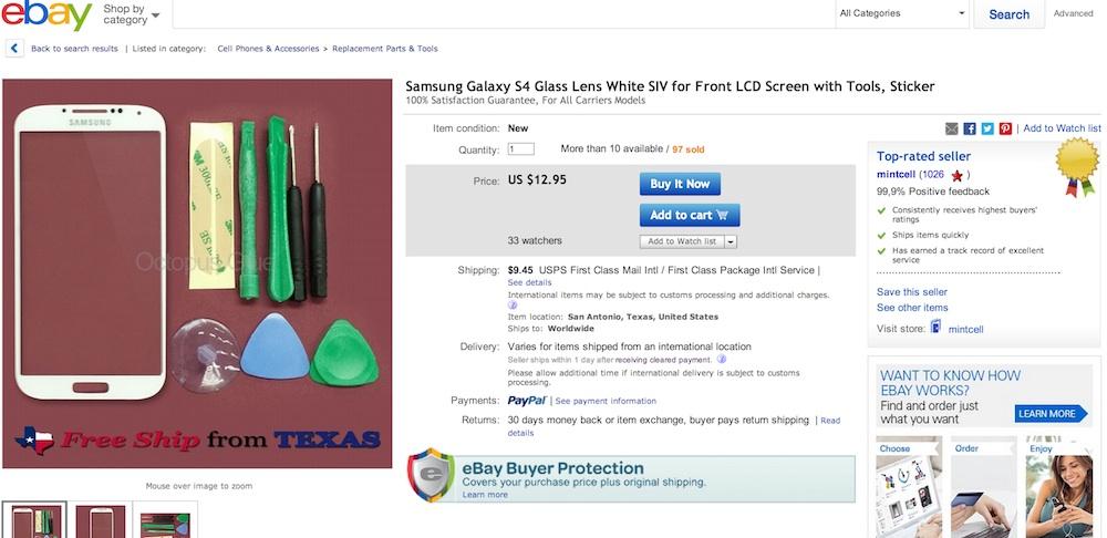 Стекло и ремонтный набор для Galaxy S4 на Ebay