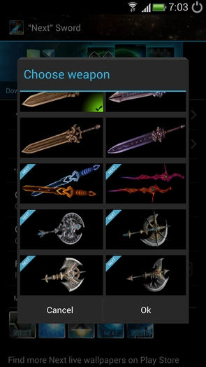 """""""Next"""" Sword - выбор меча"""
