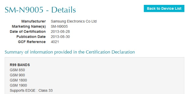 Samsung Galaxy Note III SM-N9005 (LTE версия) проходит сертификацию