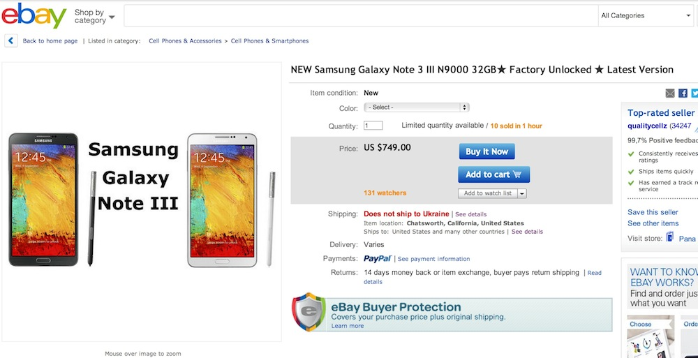 Купить Samsung Galaxy Note 3 N9000 32GB на Ebay можно за $749