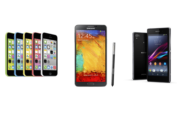 Samsung Galaxy Note 3 vs iPhone 5S vs Xperia Z1