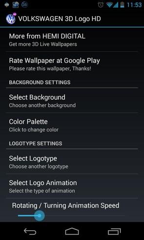 3D VOLKSWAGEN Logo HD LWP - живые обои на смартфоны Android