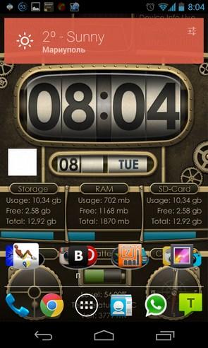 Device info ProClock Wallpaper - анимированные обои на Samsung Galalxy S4