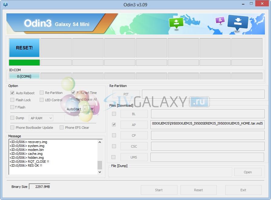 Прошивка Galaxy S4 через Odin 3.09