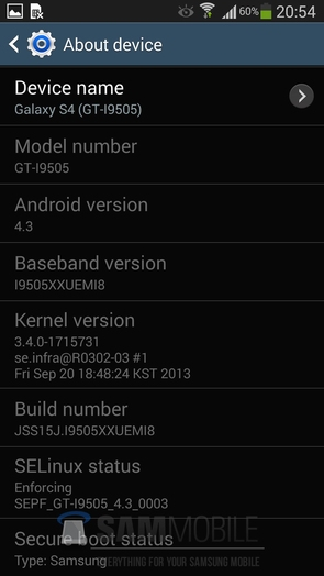 I9505XXUEMI8 Android 4.3 для Galaxy S4 GT-I9505