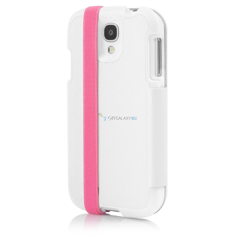 Белый чехол Incipio Watson Wallet для Samsung Galaxy S4 с розовой полоской