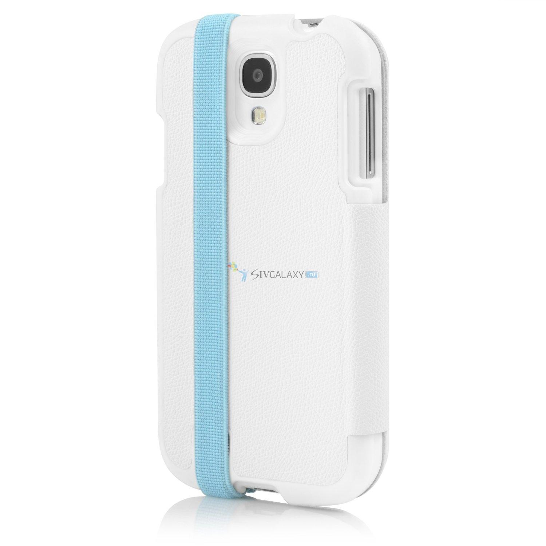 Белый чехол Incipio Watson Wallet для Samsung Galaxy S4 с голубой полоской