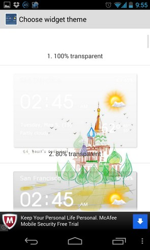 Transparent clock & weather - приложение погоды на Галакси С4