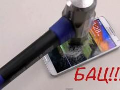 Краш-тест Galaxy Note 3 - нож и молот